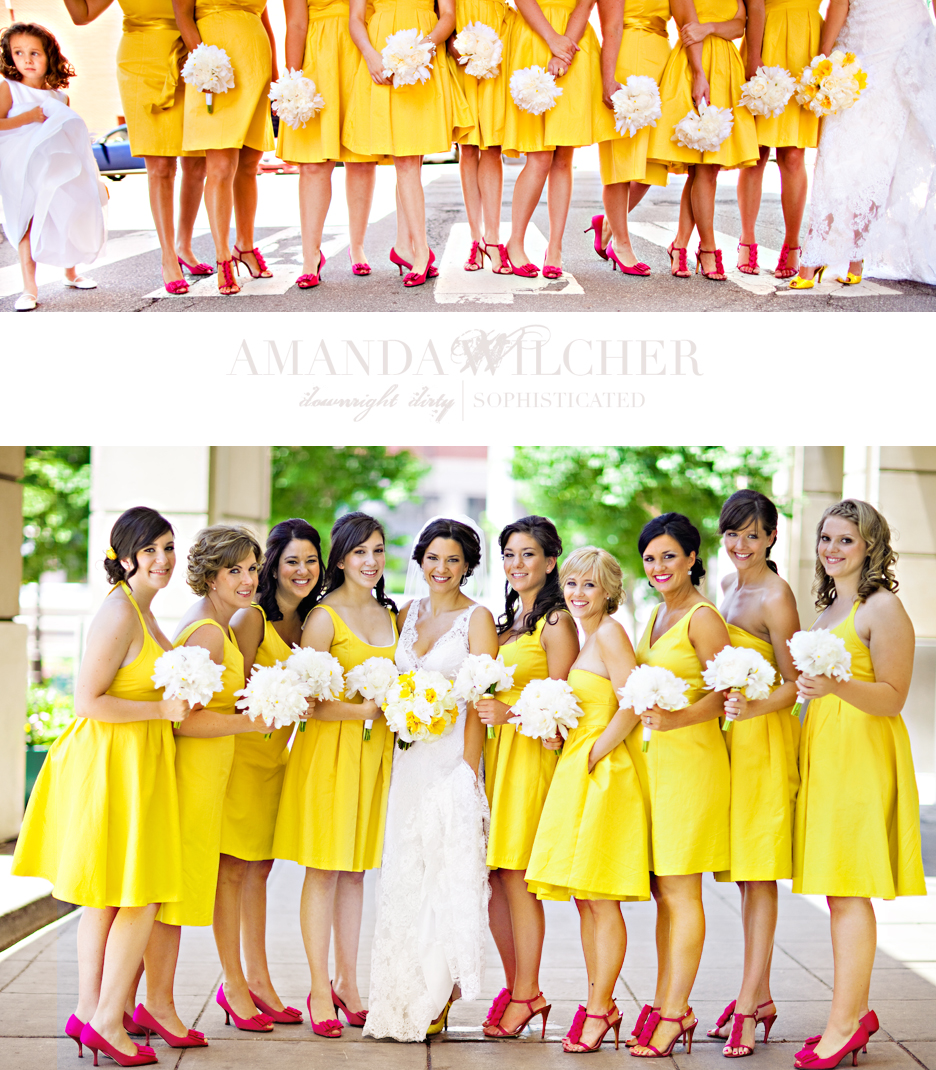 wedding party yellow dresses
