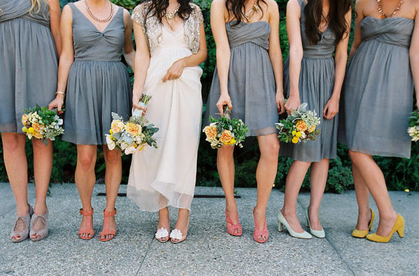 While no bride wants gray weather on her big day dresses of the same hue